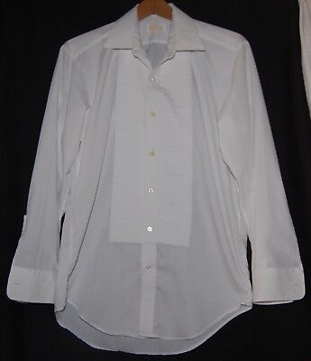 Vintage After Six Mens Ruffle Pleat Tuxedo Shirt White 15.5 32 Button Down 70s