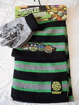 Boy's Teenage Mutant Ninja Turtles Scarf Gloves & Hat Set 3 Piece Set NEW