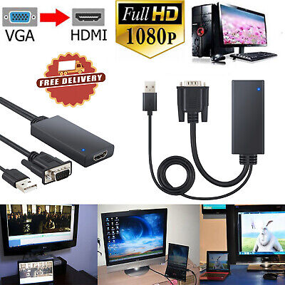 VGA to HDMI Adapter 1080P &USB Audio Video Converter Cable For PC Laptop HDTV US