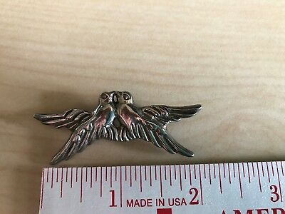 Vintage Sterling Silver Double Kissing Birds Pin Doves