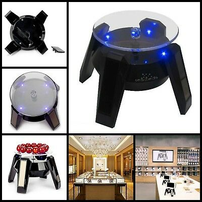Exquisite Black Abs Solar Powered Display Stand Rotating Turntable LED Light New