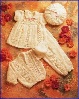 Vintage Baby Knitting Pattern copy in 8 Ply GORGEOUS Lacy Designs