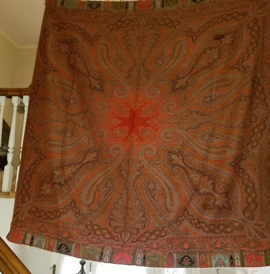 Antique Paisley Wool Square Shawl with a red center and 6 Colors