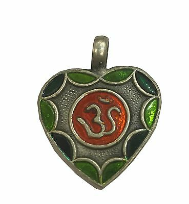 Antique Vintage Ethnic Silver Handmade Om Design Multi Color Art Pendant MB28SJ