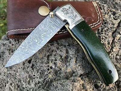 "HUNTEX Handmade Damascus 4.4"" Long American Macarta Hunting Folding Pocket Knife"