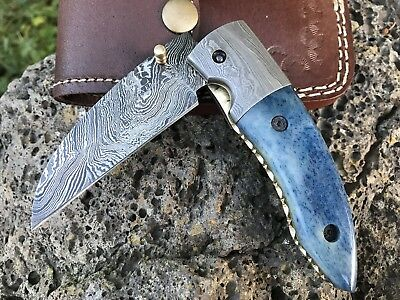 "HUNTEX Handmade Damascus 4.4"" Long Hawkbill Bladed Hunting Folding Pocket Knife"