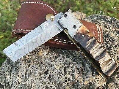 "HUNTEX Handmade Damascus 4.1"" Long Ram Horn Tanto Hunting Folding Pocket Knife"