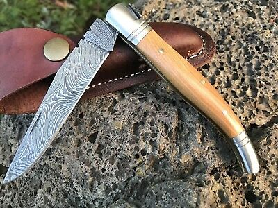 "HUNTEX Handmade Damascus 4.7""Long OliveWood Lagouli Hunting Folding Pocket Knife"