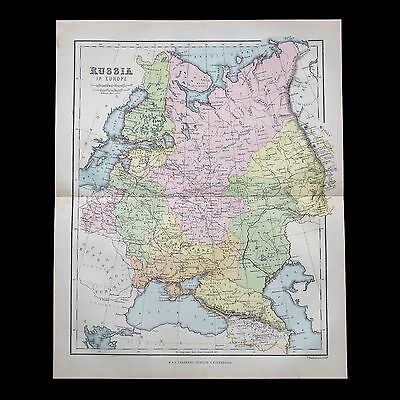Antique 1883 colour map of RUSSIA in Europe - 130+ years old & VGC !