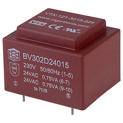 Vigortronix VTX-121-3015-224 Encapsulated PCB Transformer 230V 1.5VA 0-24V