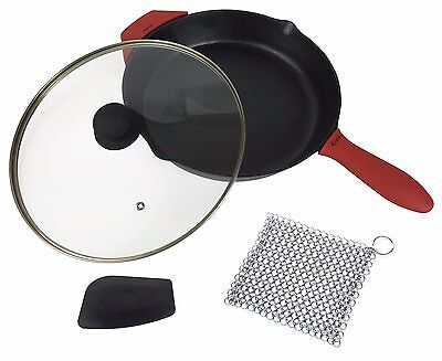 12-Inch Cast Iron Skillet Set, Large & Assist Silicone Hot Handle Holder, Lid