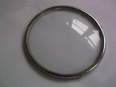 GLASS /CHROME RIM  FROM AN OLD PERIVALE  MANTLE CLOCK  OUTER 6 1/4 inch diam