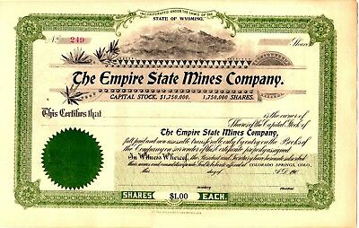 Empire State Mines Company of Wyoming 190? Stock Certificate - offices Colorado