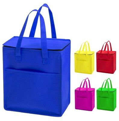 Large & Bright Non Woven Zipped Insulated Cooler Bag Thermal Cool Lunch Picnic