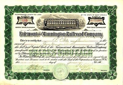Fairmont and Mannington Railroad Company of WV 1910 Stock Certificate