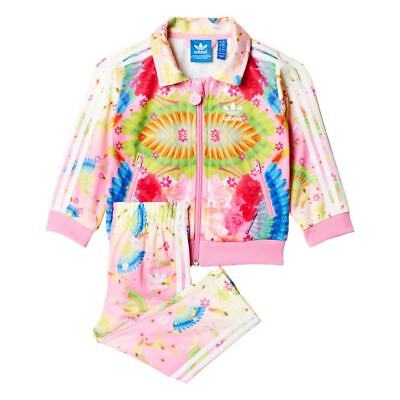 adidas Originals Baby Girls Floral Tracksuit Pink Age 3-6 Months NEW