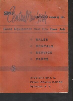 CNY Central New York Company Equipment Catalog Construction Vintage 1960
