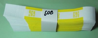 500 Yellow Self Sealing $100 Bill Wrappers $10,000 Band Straps Free Shipping!