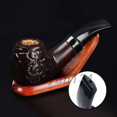 Ebony Wooden Men High-ended Smoking Pipe Tobacco Cigarettes 9mm activated carbon