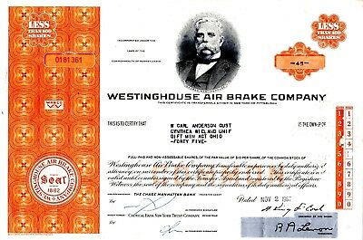 Westinghouse Air Brake Company of Pennsylvania 1967 Stock Certificate