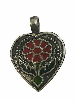 Antique Vintage Ethnic Silver Handmade Old Flower Design Red Color Art Pendant
