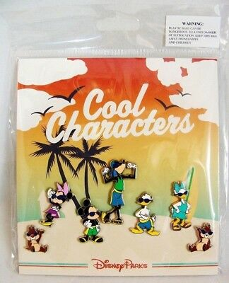 Disney Cool Characters Booster 7 Pin Set - Mickey Minnie Donald Goofy Chip Dale