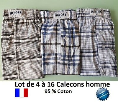 LOT 4 à 16 CALECONS BOXER CALECON HOMME 95 % COTON MEN BOXERS CAGES