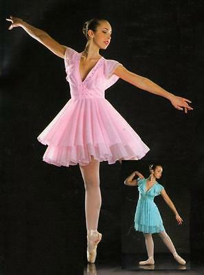Symphony Dance Costume PINK Ballet Lyrical Skating Dress Adult Medium New