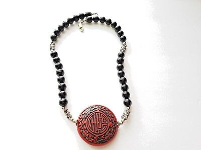 Vintage Chinese Carved Cinnabar Onyx  Beads Pendant NECKLACE