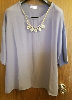 5fa39ae9267 Xehar Women s Plus Size Casual Fancy Blouse Tunic Top with Accesory Purple  1XL