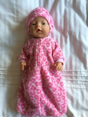 """Doll clothes - Sleeping Bag & Hat To Fit 17"""" Baby Born Doll  Pink Leopard Print"""