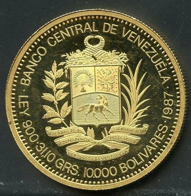 Venezuela 1987 10,000 Bolivares Proof Gold Piece You Do The Grading Have Fun