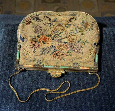 Fab Art Deco Poured Glass Marcasite Gilded Evening Bag Frame Repair Re-Use Only