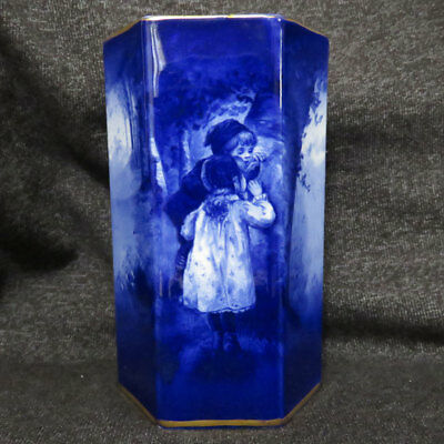 Beautiful Royal Doulton Blue Children Hexagon Vase - Babes in the Woods