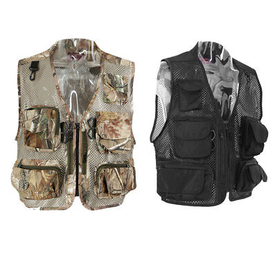 Men Multi-Pocket Fishing Hunting Mesh Vest Sports Photography Leisure Jacket