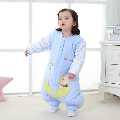 Baby Cotton Sleeping Bag Kids Toddler Winter Warm Pajamas With Legs Sleepsuit