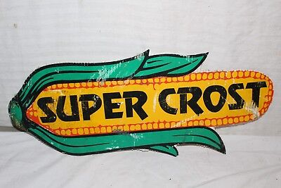 "Vintage Super Crost Seed Corn Ear Farm 22"" Sign"
