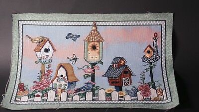 Birdhouses Garden Fence Flowers Unfinished Tapestry Craft Fabric Place mat