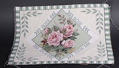 Rose Pink & Green Lena Lui Unfinished Tapestry Craft Fabric Place mat