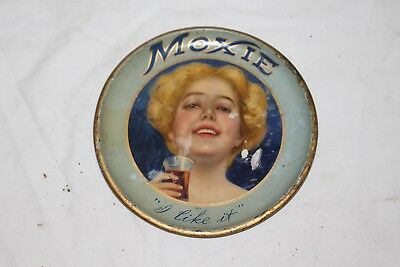 Rare Vintage c.1910 Moxie Soda Pop Restaurant Metal Serving Tip Tray Sign