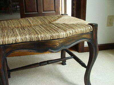 Outstanding Wood And Raffia Brown Stained Bench Tuscan Rustic Farmhouse Creativecarmelina Interior Chair Design Creativecarmelinacom