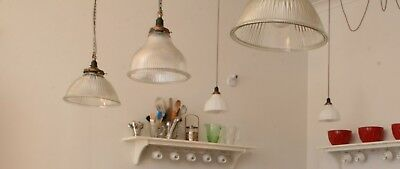 Glass light shade with brass gallery