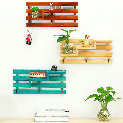 Vintage Rack Wooden Wall Mounted 3 Hooks Floating Shelf Display Storage Wood