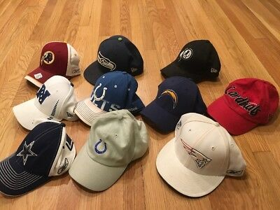 Vintage Lot Of 10 Hats NFL Football Snapback Caps Pro Sport New Era Cowboys VTG
