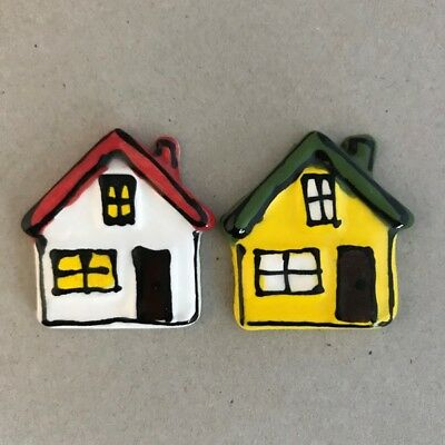 CERAMIC HOUSES x2 - Yellow and White - 45x45mm ~ Ceramic Mosaic Tiles