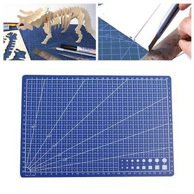 Plastic Craft Cutting Mat Blue Measuring Grid Non Slip Surface A4 30x22cm