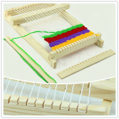 Weaving Loom Wooden Craft Kids Toy Traditional Hand Pretend Play Knitting CB