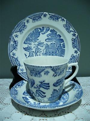 Vintage James Broadhurst Blue Willow Trio - Cup Saucer Plate - Reas Cond