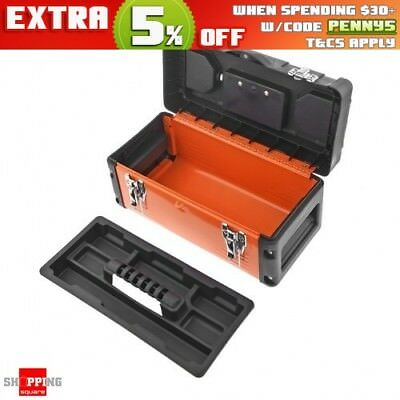 "14"" Metal portable Tool Box Storage Container With Removable Tool Tray - Orange"