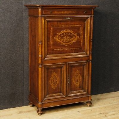 Secrétaire bureau furniture French sideboard desk inlaid wood antique style